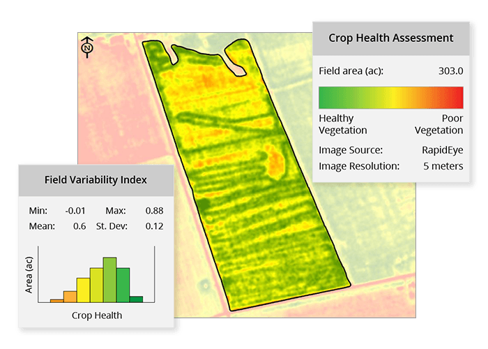 Graphic showing a field with areas of healthy and unhealthy vegetation also contains a chart with this data