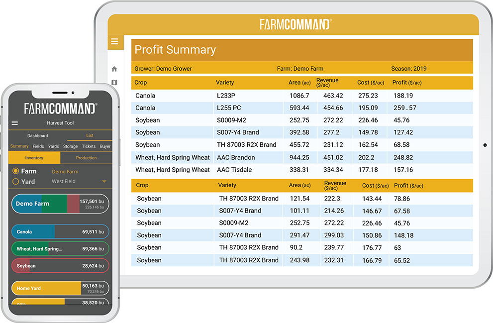 Farmers Edge FarmCommand Analytics & Reports on a tablet and mobile phone
