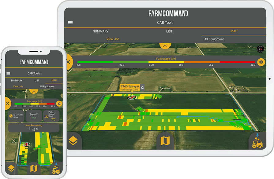 Farmers Edge FarmCommand In Cab platform running on a tablet and a mobile phone