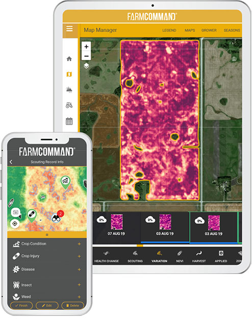 Farmers Edge FarmCommand Scouting on a tablet and mobile phone