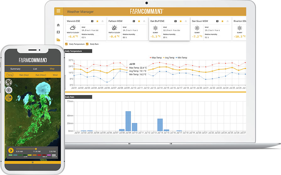 Farmers Edge FarmCommand Weather on a tablet and mobile phone