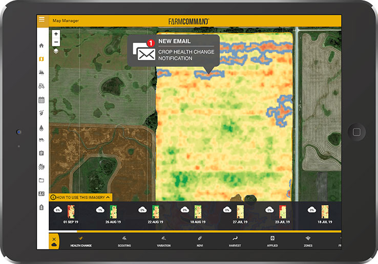 Farmers Edge Broadacre Scouting and Change Notification Sattelite Imagery on a Tablet
