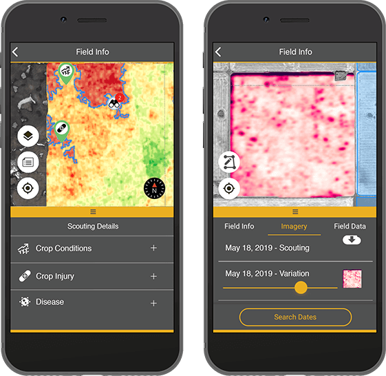 Farmers Edge Satellite Imagery on a Mobile Phone