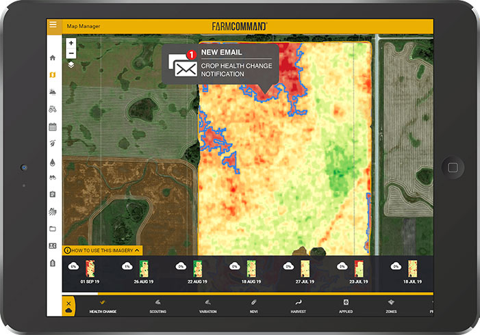 Farmers Edge Specialty Crop Change Notification Satellite Imagery on a Tablet